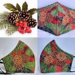 Christmas Pine Cones Designer adult face mask